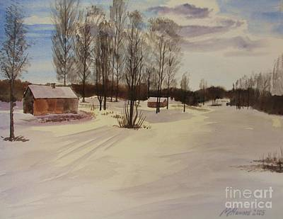 Red Barn In Winter Painting - Snow In Solbrinken by Martin Howard
