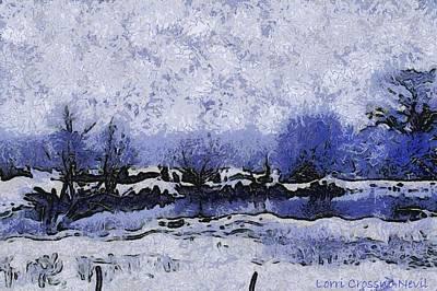 Snow In Texas Van Gogh Style Art Print by Lorri Crossno