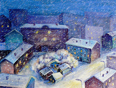 Snow In The Town Art Print