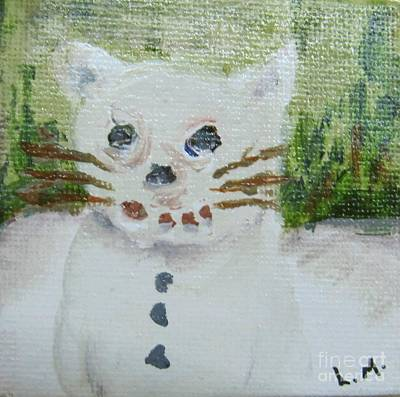 Painting - Snow Kitty by Laurie Morgan