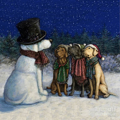 Retrievers Mixed Media - Snow Lab by Kathleen Harte Gilsenan