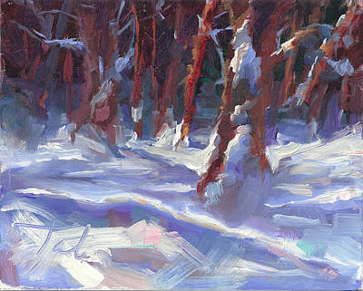 Painting - Snow Laden - Winter Snow Covered Trees by Talya Johnson