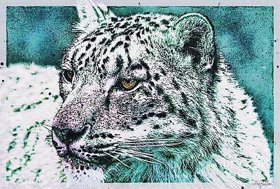 Snow Leopard - Portrait In Teal Art Print