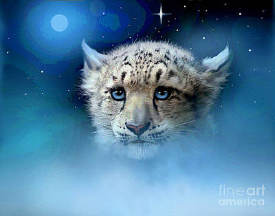 Fog Mist Digital Art - Snow Leopard Cub by Robert Foster