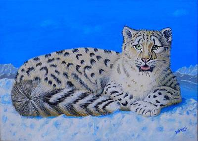Painting - Snow Leopard by David Hawkes