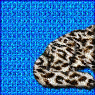 Digital Art - Snow Leopard Furry Bottom On Blue by Serge Averbukh