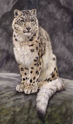 Himalayas Painting - Snow Leopard Sentry by David Stribbling
