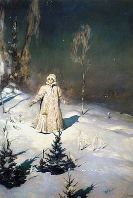 Little Girl On Beach Painting - Snow Maiden 1899 By Vasnetsov  by Movie Poster Prints