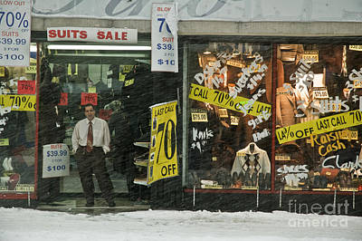 Brooklyn Storefronts Photograph - Snow Man Brooklyn Ny by Tina Osterhoudt