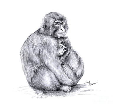 Snow Monkey And Baby Art Print by Svetlana Ledneva-Schukina