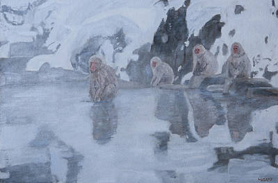 Painting - Snow Monkeys by Masami Iida