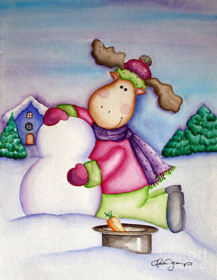 Painting - Snow Moose by Dani Abbott