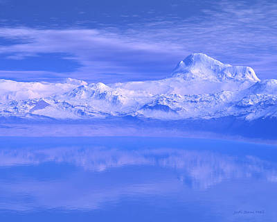 Digital Art - Snow Mountains And Lake by Judi Suni Hall