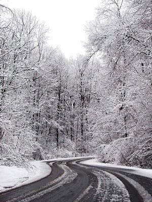 Snow On A Curvy Road Art Print