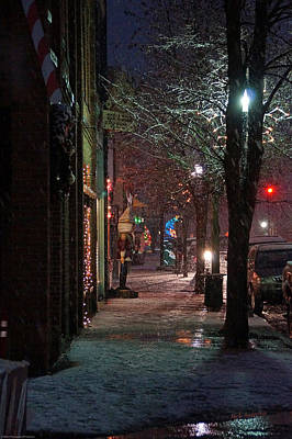 Snow On G Street 2 - Old Town Grants Pass Art Print by Mick Anderson