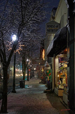 Snow On G Street 3 - Old Town Grants Pass Art Print by Mick Anderson