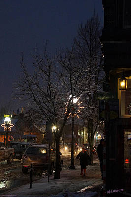 Snow On G Street 4 - Old Town Grants Pass Art Print by Mick Anderson