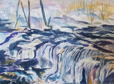 Painting - Snow On Schalks Falls-west Saugerties Ny by Ellen Levinson