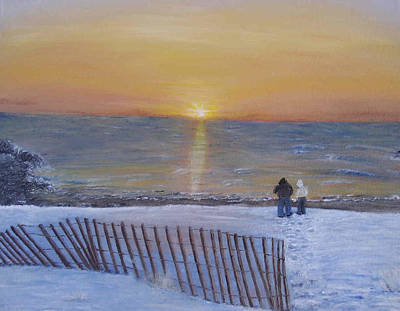 Snow On The Beach Art Print