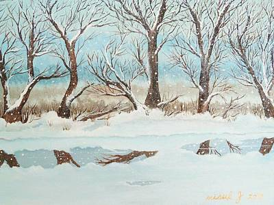 Snow On The Ema River 2 Art Print