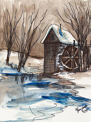Smokey Mountains Painting - Snow On The Farm by Anna Sandhu Ray