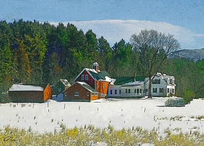 Digital Art - Snow On The Farm by Nancy Griswold