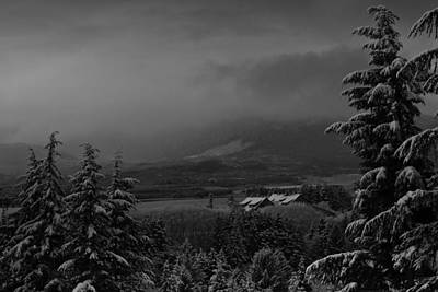 Art Print featuring the photograph Snow On The Horizon Bw by Timothy Latta