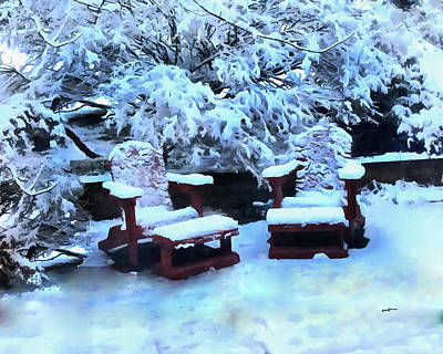 Snow On The Patio Art Print by Anthony Caruso