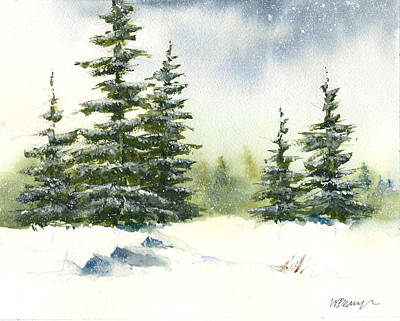 Painting - Snow On The Pines  by William Beaupre