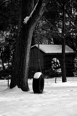 Frank J Casella Royalty-Free and Rights-Managed Images - Snow on Tire Swing by Frank J Casella