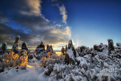 Snow On Tufa At Mono Lake Art Print by Peter Dang
