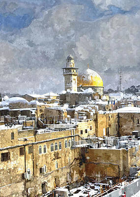 Photograph - Snow Over Jerusalem by Munir Alawi