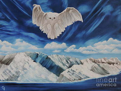 Art Print featuring the painting Snow Owl by Dianna Lewis
