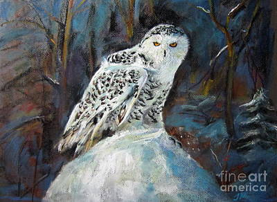 Art Print featuring the painting Snow Owl by Jieming Wang