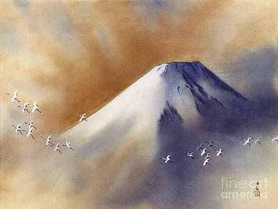 Taikan Painting - Snow Peak With Cranes by Pg Reproductions