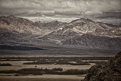 Alluvium Photograph - Snow Peaks - Black And White by Stuart Litoff