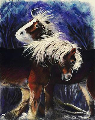 Pastel - Snow Ponies by Brenda Salamone