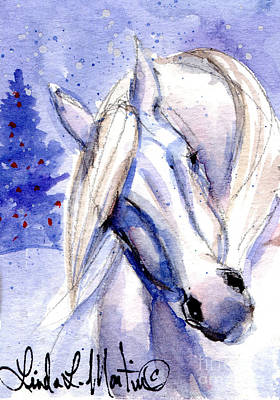 Mustang Painting - Snow Pony 1 by Linda L Martin