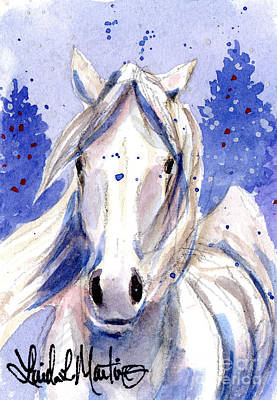 Mustang Painting - Snow Pony 2 by Linda L Martin