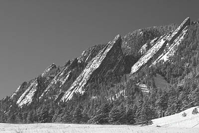 Winter Photograph - Snow Powder Dusted Flatirons Boulder Co Bw by James BO  Insogna