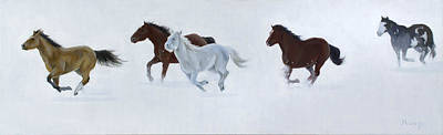 Horse Racing Painting - Snow Racing by Roseann Munger