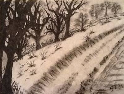 Snow Drifts Drawing - Snow Road  by Brad Miller