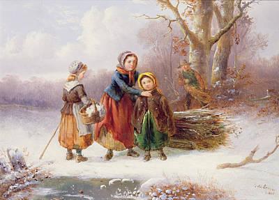 Winter Landscape Painting - Snow Scene, 19th Century by Alexis de Leeuw