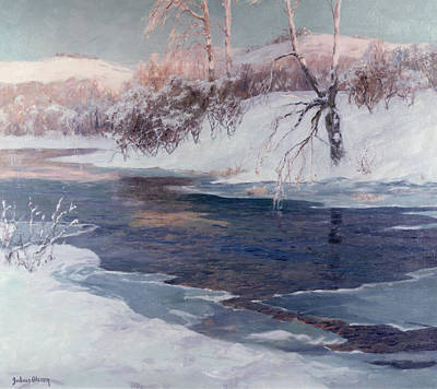 Julius Painting - Snow Scene by Albert Julius Olsson