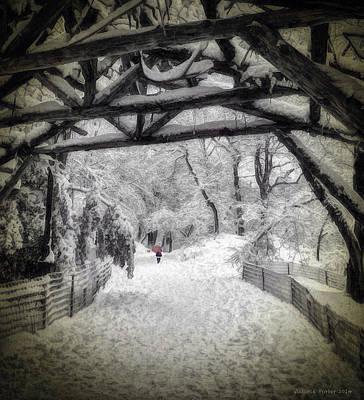 Snow Scene In Central Park Art Print