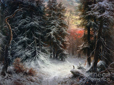 Seasons Greeting Painting - Snow Scene In The Black Forest by Carl Friedrich Wilhelm Trautschold