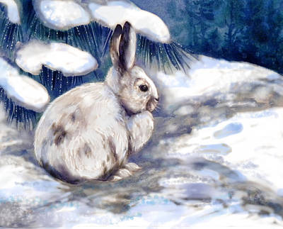 Rabbit Mixed Media - Snow Shoe Rabbit In Winter by Peggy Wilson