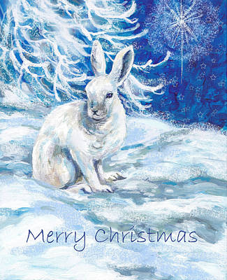 Rabbit Mixed Media - Snow Shoe Rabbit With Xmas Star by Peggy Wilson