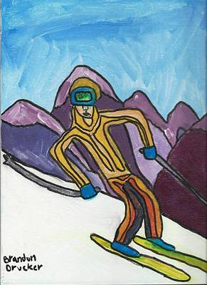Snow Skier Art Print by Artists With Autism Inc