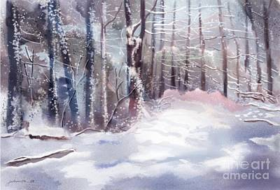 Woodlands Scene Digital Art - Snow Sparkled Woods by Joan A Hamilton